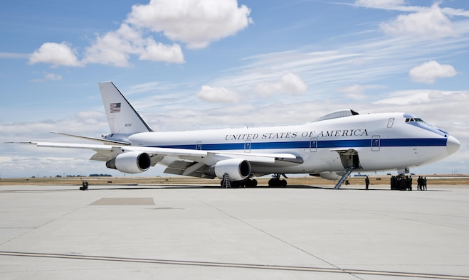 An E-4B from U.S. Air Force Global Strike Command, Barksdale Air Force Base, La., sits on the ramp at Travis Air Force Base, Calif., June 9, 2017. The E-4B serves as the National Airborne Operations Center and is a key component of the National Military Command System for the President, the Secretary of Defense and the Joint Chiefs of Staff. (U.S. Air Force photo/Staff Sgt. Nicole Leidholm/Released)