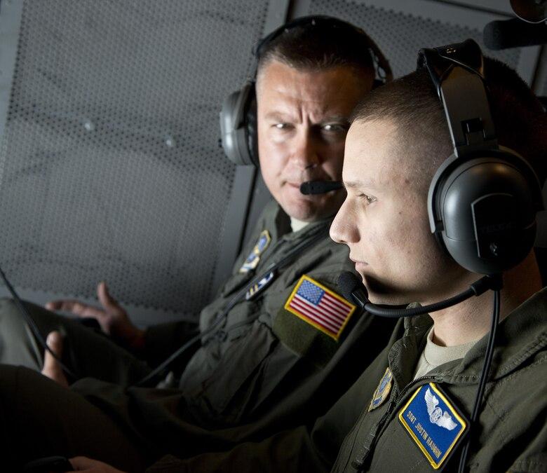 Staff Sgt. Justin Haughn, 6th Air Refueling Squadron boom operator, refuels an E-4B June 12, 2017.