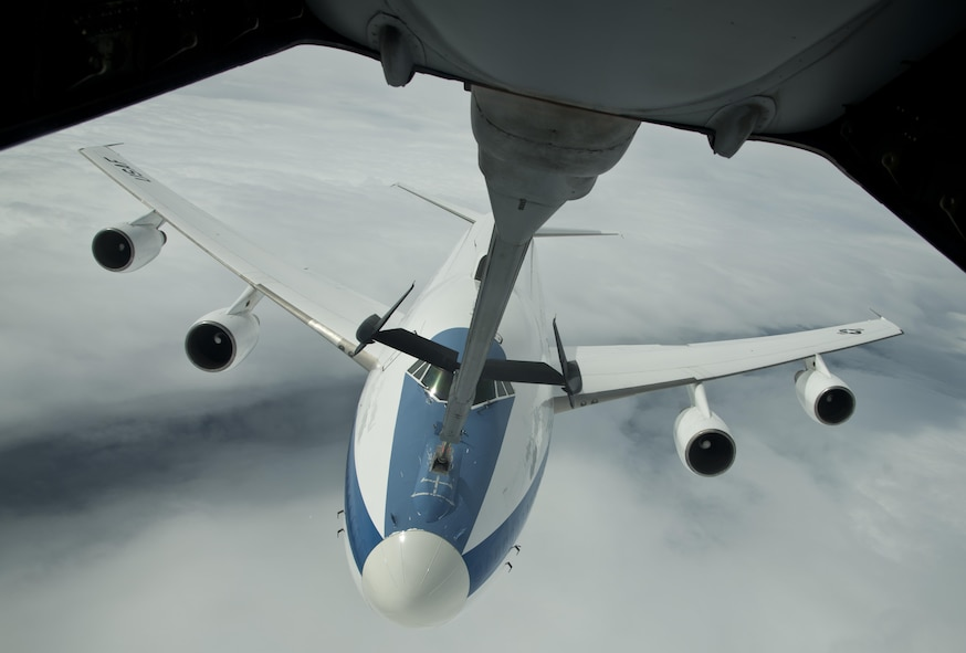 An E-4B from U.S. Air Force Global Strike Command, Barksdale Air Force Base, La., is refueled by a KC-10 Extender from Travis Air Force Base, Calif., during a local mission June 12, 2017. In case of national emergency or destruction of ground command and control centers, the E-4B provides a highly survivable command, control and communications center to direct U.S. forces, execute emergency war orders and coordinate actions by civil authorities. (U.S. Air Force photo/Staff Sgt. Nicole Leidholm/Released)