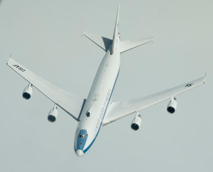 An E-4B from U.S. Air Force Global Strike Command, Barksdale Air Force Base, La., flies below a KC-10 Extender from Travis Air Force Base, Calif., during a local mission June 12, 2017. To provide direct support to the President, the Secretary of Defense, and the JCS, at least one E-4B National Airborne Operations Center is always on 24-hour alert, 7-days a week, with a global watch team at one of many selected bases throughout the world. (U.S. Air Force photo/Staff Sgt. Nicole Leidholm/Released)