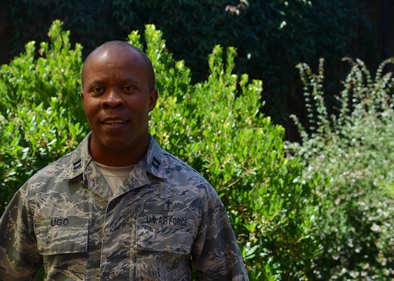Chaplain (Capt.) Charles Ugo, 9th Reconnaissance Wing chaplain, poses for a photo June 13, 2017 at Beale Air Force Base, California. (U.S. Air Force photo/Airman 1st Class Andrew Moore)