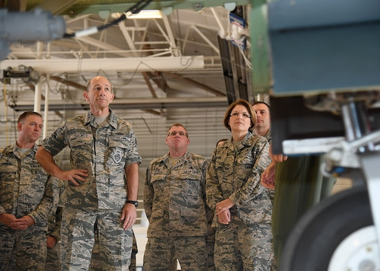 Gen. Mike Holmes, Air Combat Command commander, listens to an RQ-4 Global Hawk briefing June 15, 2017, on Grand Forks Air Force Base, N.D. Holmes visited Grand Forks AFB to take part in the base's re-alignment from Air Mobility Command to ACC. (U.S. Air Force photo by Senior Airman Ryan Sparks)