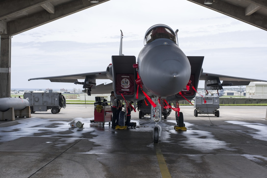 U.S. Air Force 67th Aircraft Maintenance Unit F-15 Eagle crew chiefs inspect hydraulic systems of an F-15 during training operations June 13, 2017, at Kadena Air Base, Japan. The 67th AMU helps maintain the aircraft of one of the largest fighter wing in the U.S. Air Force. (U.S. Air Force photo by Senior Airman Omari Bernard)