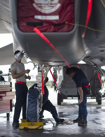 U.S. Air Force Staff Sgt. Dennis Franco and Senior Airman Devin Arden, 67th Aircraft Maintenance Unit F-15 Eagle dedicated crew chiefs, perform maintenance on hydraulic systems of an F-15 June 13, 2017, at Kadena Air Base, Japan. The F-15 Eagle is an all-weather, extremely maneuverable, tactical fighter designed to permit the Air Force to gain and maintain air supremacy over the battlefield. (U.S. Air Force photo by Senior Airman Omari Bernard)