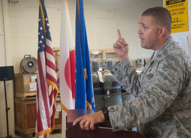 U.S. Air Force Lt. Col. Patrick Launey, 18th Logistics Readiness Squadron commander, provides opening remarks at a ribbon-cutting ceremony for the only operational cryogenic production plant in the Air Force June 16, 2017, at Kadena Air Base, Japan. Cryogenic technicians with the 18th LRS provide units with liquid oxygen, which is used primarily for aircraft as a compact oxygen supply for pilots. (U.S. Air Force photo by Senior Airman Quay Drawdy)