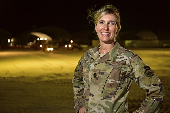 Lt. Col. Heidi Gibson, 407th Expeditionary Civil Engineer Squadron commander, poses for a photo June 7, 2017, at the 407th Air Expeditionary Group in Southwest Asia. Gibson enlisted in the California Air National Guard in 1986 then later commissioned. She has had success in her civilian and military career, holding the titles of principal in her very own architecture firm and field grade officer with the Air National Guard as the 163rd Civil Engineer Squadron commander at March Air Reserve Base, Calif. (U.S. Air force photo by Senior Airman Ramon A. Adelan)