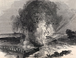 On June 25, the Federals detonated a mine beneath the Third Louisiana Redan in hope of gaining access into Vicksburg. (Drawn by Theodore Davis for Harpers, July 25, 1863 edition.)