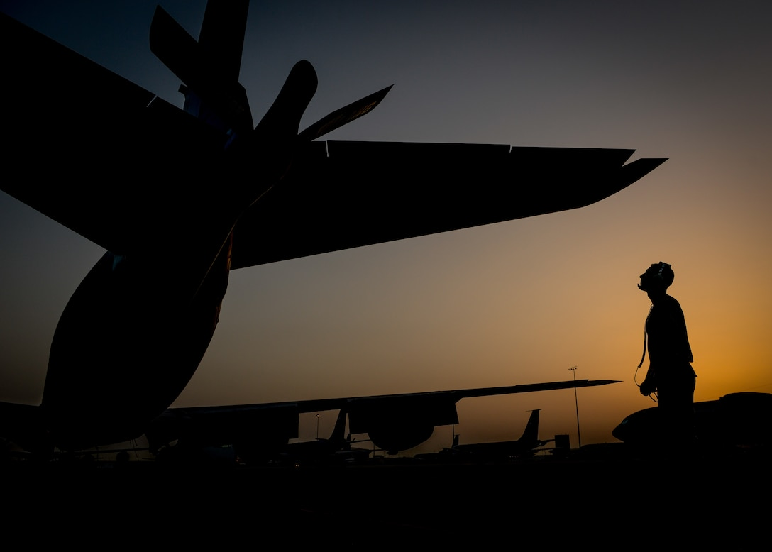 A KC-135 Stratotanker maintainer, assigned to the 340th Aircraft Maintenance Unit, inspects the aircraft's boom before a flight in support of Operation Inherent Resolve at Al Udeid Air Base, Qatar, June 6, 2017. The KC-135 provides aerial refueling capabilities as it supports U.S. and coalition forces as they work to liberate territory and people under the control of the Islamic State of Iraq and Syria. (U.S. Air Force photo/Staff Sgt. Michael Battles)