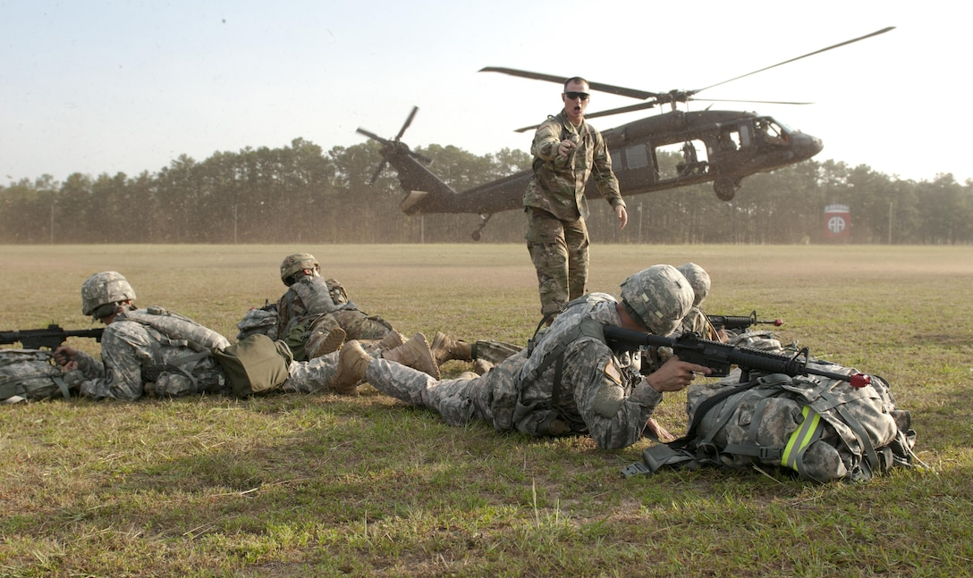 """Army Reserve Warriors prepare to board a UH-60 Blackhawk helicopter a the beginning of a """"Mystery Event Day,"""" the final phase of the week-long 2017 U.S. Army Reserve Best Warrior Competition at Fort Bragg, N.C. June 15. This year's Best Warrior Competition will determine the top noncommissioned officer and junior enlisted Soldier who will represent the U.S. Army Reserve in the Department of the Army Best Warrior Competition later this year at Fort A.P. Hill, Va. (U.S. Army Reserve photo by SGT David Turner) (Released)"""