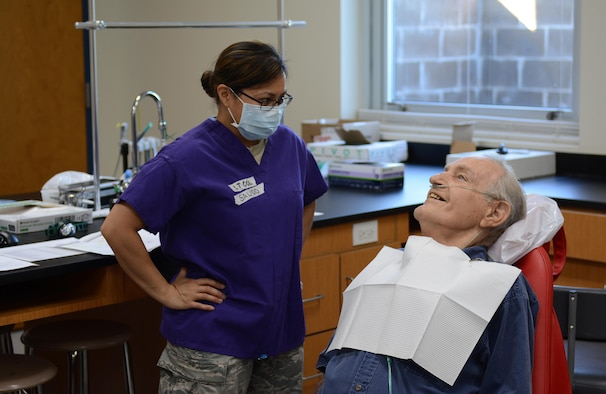 Air Force Lt. Col. Joan Salido, a dentist from the 445th Aerospace Medicine Squadron of Wright-Patterson Air Force Base, Ohio, preps a patient during Innovative Readiness Training at Mountain Home, Ark., June 12, 2017. The IRT program allows active-duty, guard and reserve members to volunteer for real-world training opportunities through engineering, veterinarian, medical, and construction projects that benefit the sometimes-forgotten citizens of American communities in need. (U.S. Air National Guard photo by Staff Sgt. Carlynne DeVine)