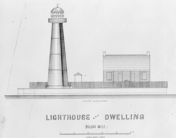 "Biloxi Light, Mississippi, architectural drawing; Caption: ""Lighthouse and Dwelling [;] Front Elevation.""; no date/drawing number, architect/draftsman unknown."