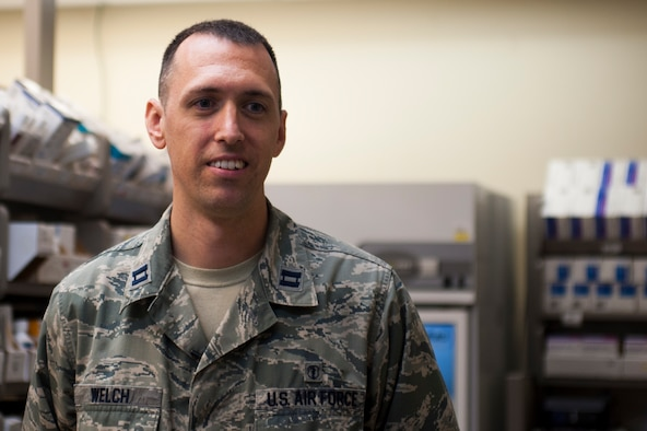U.S. Air Force Capt. Brian Welch, 17th Medical Support Squadron pharmacist, answers interview questions at the Ross Clinic on Goodfellow Air Force Base, Texas, June 15, 2017. Welch was nominated by the Pharmacist Times magazine for the Rising Star award. (U.S. Air Force photo by Senior Airman Scott Jackson/released)