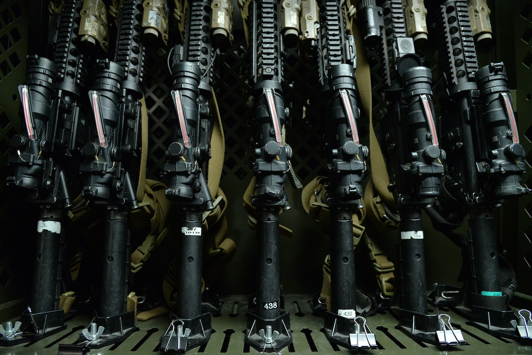 Weapons are stored in the security forces armory in Building 500 June 14, 2017, at Malmstrom Air Force Base, Mont. All personally owned firearms brought onto base or stored on base must be registered at the visitor control center. (U.S. Air Force photo/Airman 1st Class Daniel Brosam)