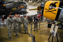 Volunteer docent Christopher Black speaks to U.S. Air Force Academy Cadets during a tour of the Hill Air Force Base Aerospace Museum, June 9, 2017. Cadets visited the base as part of Operation Air Force, a two-and-a-half week long program for cadets about to begin their junior year at the Academy. (U.S. Air Force photo/R. Nial Bradshaw)