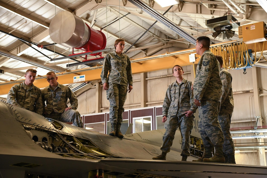 Tech. Sgt. Robert Turner, 388th Maintenance Squadron, speaks to U.S. Air Force Academy Cadets during their tour of the 388th MXS Phase Dock at Hill Air Force Base, Utah, June 14, 2017. Ops AF benefits cadets, who will soon begin deciding on career paths, by providing a look at some of the many career fields available to an Air Force officer. (U.S. Air Force photo/R. Nial Bradshaw)