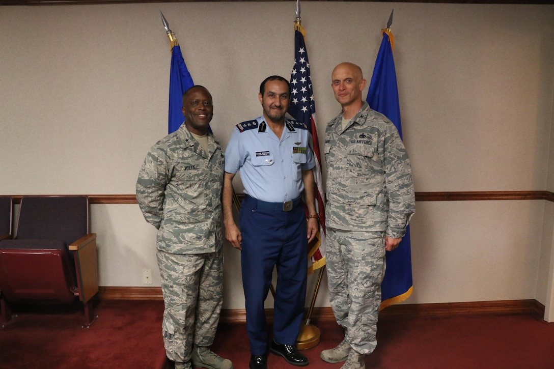 Brig. Gen. Ronald Jolly, 82nd Training Wing commander, Col. Bader Alotaibi, Royal Saudi Air Force senior country liaison officer, and Col. Timothy Gillaspie, 82nd Training Wing vice commander, celebrate Col. Alotaibi's promotion, June 14, 2017. The 82nd Training Wing at Sheppard Air Force Base currently trains more than 80 Saudi Arabian Airmen. (U.S. Air Force courtesy photo)
