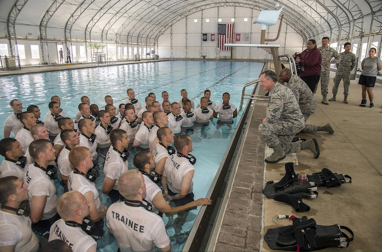 Air Force Chief of Staff Gen. David Goldfein and Chief Master Sgt. of the Air Force Kaleth O. Wright speak with Battlefield Airmen in training during a tour of BA training facilities at Joint Base San Antonio-Lackland June 15, 2017. For the first time in U.S. military history, the Air Force activated a unit solely dedicated to train the service's ground component, June 2 at Joint Base San Antonio-Lackland, Texas.  The unit is called the Battlefield Airmen Training Group and it is a subordinate unit of the 37th Training Wing. (U.S. Air Force photo by Johnny Saldivar)