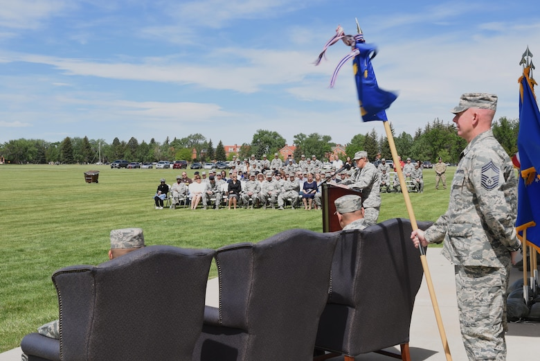 Colonel Tricia Van Den Top, 90th Mission Support Group commander, speaks to the crowd attending the 90th MSG Change of Command June 16, 2017, on the Argonne Parade Field at F.E. Warren Air Force Base, Wyo. The group is comprised of the 90th Logistics Readiness Squadron, 90th Civil Engineer Squadron, 90th Force Support Squadron, 90th Communications Squadron and 90th Contracting Squadron, which provide essential support functions to the 90th Missile Wing's mission. (U.S. Air Force photo by Glenn S. Robertson)