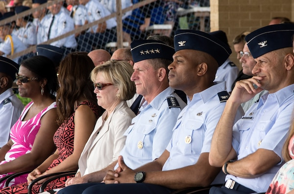 """Air Force Chief of Staff Gen. David Goldfein observes the Air Force's newest Airmen during a basic military training graduation June 16, 2017, at Joint Base San Antonio-Lackland. Goldfein toured various JBSA-Lackland facilities and met many 37th Training Wing Airmen during his two-day visit. Every enlisted Airmen begins their Air Force career at basic military training. JBSA-Lackland is often referred to as the """"Gateway to the Air Force,"""" graduating about 39,000 Airmen annually. Basic military training is one of the missions of the 37th Training Wing, the largest training wing in the United States Air Force. (U.S. Air Force photo by Johnny Saldivar)"""
