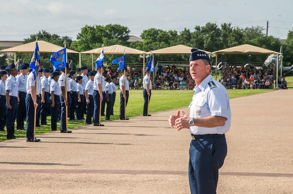 "Air Force Chief of Staff Gen. David Goldfein addresses Airmen during a basic military training graduation June 16, 2017, at Joint Base San Antonio-Lackland. Goldfein toured various JBSA-Lackland facilities and met many 37th Training Wing Airmen during his two-day visit. Every enlisted Airmen begins their Air Force career at basic military training. JBSA-Lackland is often referred to as the ""Gateway to the Air Force,"" graduating about 39,000 Airmen annually. BMT is one of the missions of the 37th Training Wing, the largest training wing in the United States Air Force. (U.S. Air Force photo by Johnny Saldivar)"