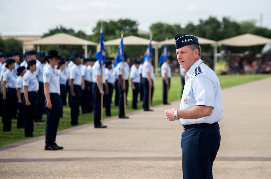 """Air Force Chief of Staff Gen. David Goldfein addresses Airmen during a basic military training graduation June 16, 2017, at Joint Base San Antonio-Lackland. Goldfein toured various JBSA-Lackland facilities and met many 37th Training Wing Airmen during his two-day visit. Every enlisted Airmen begins their Air Force career at basic military training. JBSA-Lackland is often referred to as the """"Gateway to the Air Force,"""" graduating about 39,000 Airmen annually. BMT is one of the missions of the 37th Training Wing, the largest training wing in the United States Air Force. (U.S. Air Force photo by Johnny Saldivar)"""