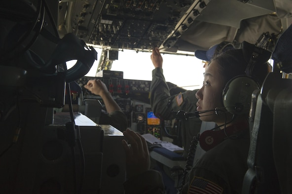 U.S. Air Force Academy Cadet 2nd Class Sonya Kang sits in a KC-135 Stratotanker June 9, 2017, while it prepares for landing at Beale Air Force Base, California. Kang plans to graduate in 2019. (U.S. Air Force photo by Senior Airman Tara R. Abrahams)