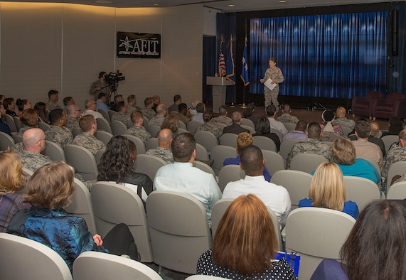 Gen. Ellen Pawlikowski, commander of Air Force Materiel Command, provides remarks at the Air Force Installation Contracting Agency's 2017 Enterprise Sourcing Summit June 8 at the Air Force Institute of Technology's Bane Auditorium. The AFMC commander praised the ongoing effort to provide cost-effective and agile acquisition support to the Air Force. Attendees included representatives from the operational contracting, small business, civil engineering, and acquisition communities, among others. (U.S. Air Force photo/Michelle Gigante)