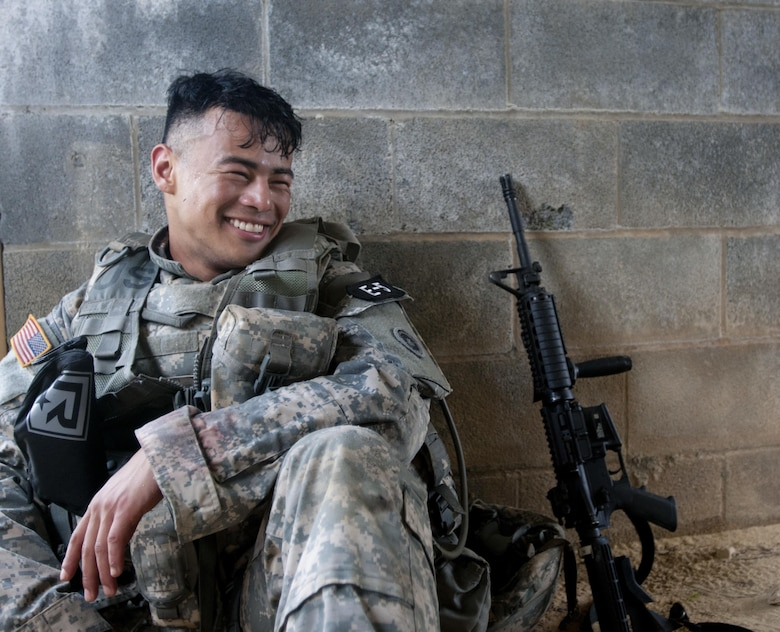 Spc. Kenny Ochoa a watercraft specialist representing the Sustainment Support Command, takes a well deserved break during the 2017 U.S. Army Reserve Best Warrior Competition at Fort Bragg, N.C. June 14. This year's Best Warrior Competition will determine the top noncommissioned officer and junior enlisted Soldier who will represent the U.S. Army Reserve in the Department of the Army Best Warrior Competition later this year at Fort A.P. Hill, Va. (U.S. Army Reserve photo by Spc. Trenton Fouche) (Released)