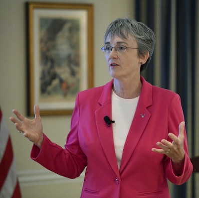 Secretary of the Air Force Heather Wilson speaks about the new deputy chief of staff for space, and her role as principal advisor to the secretary of Defense on space, during the Strategic National Security Space discussion in Washington, D.C., June 16, 2017.  (U.S. Air Force photo/Wayne A. Clark)