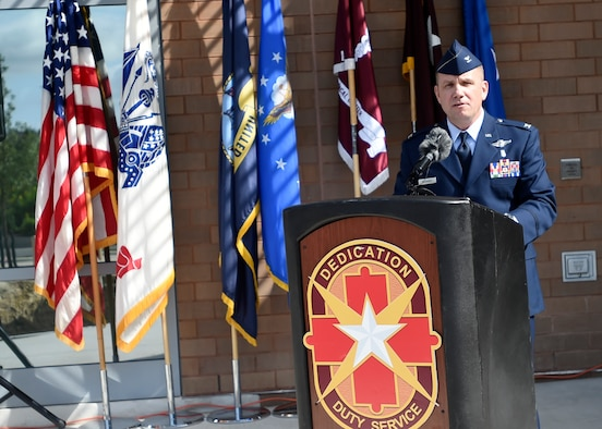 Col. Michael Richards gives an opening speech during the Undersea and Hyperbaric Medicine Clinic ribbon cutting June 16, San Antonio Military Medical Center, Joint Base San Antonio-Fort Sam Houston, Texas.