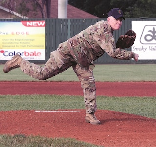 "Brig. Gen. Patrick Frank, 1st Infantry Division and Fort Riley acting senior commander, threw out the first pitch at the Junction City Brigade Baseball home opening game June 3 at Junction City's Rathert Stadium. Before the game between the Brigade and the Rossville Rattlers, Frank spoke with members of the team and addressed the crowd, thanking them for their support of the ""Big Red One."""