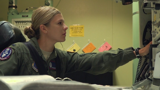 First Lt. Madelaine Ross, 319th Missile Squadron combat crew commander, trains for the 2017 Global Strike Challenge inside the Missile Procedures Trainer at F.E. Warren Air Force Base, Wyo., June 5, 2017. The missileer competition is June 27-29, 2017. The MPT allows missileers to run through a number of potential situations that can arise when on alert. Approximately 450 competitors take part in GSC competitions at various locations. Competition categories rigorously test security forces, missile, bomber, helicopter and maintenance communities. (U.S. Air Force photo by Lan Kim)