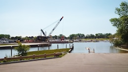 Photo shows dredging operations taking place in the Genessee River, as part of the Rochester Harbor dredging project that culimated in June 2017.
