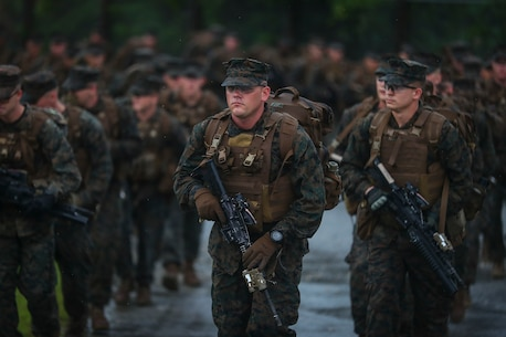 U.S. Marines with Alpha Company, 1st Battalion, 3rd Marine Regiment, conduct a movement to Range 1 aboard Camp Hansen, Okinawa, Japan, June 14, 2017. The Hawaii-based battalion is forward deployed to Okinawa, Japan as part of the Unit Deployment Program.