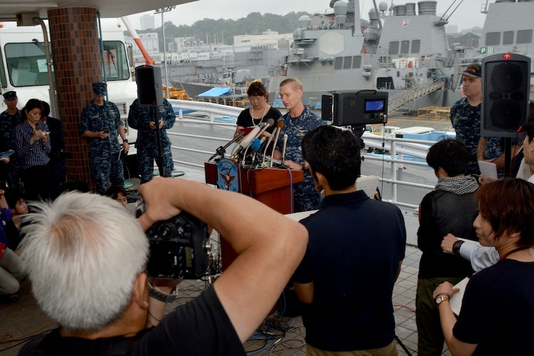 YOKOSUKA, Japan (June 18, 2017) – Vice Adm. Joseph Aucoin speaks to members of the press about the Arleigh Burke-class guided-missile destroyer USS Fitzgerald (DDG 62) which was involved in a collision with a merchant vessel. The Fitzgerald suffered severe damage but returned to Fleet Activities (FLEACT) Yokosuka under its own power. The incident is currently under investigation.  (U.S. Navy photo by Mass Communication Specialist 1st Class Peter Burghart/Released)