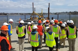 Students tour the New Bedford Harbor Superfund Site for the day as part of the three day Bioengineering Symposium, April 19, 2017.