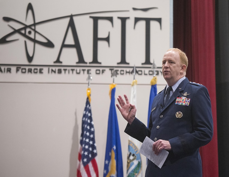 Lt. Gen. Robert McMurry, Air Force Life Cycle Management Center commander was one of the senior Air Force speakers at the ninth annual Acquisition Insight Days event. The theme for the conference was 'Keeping a Decisive Edge,' and more than 60 presentations were available to attendees. (U.S. Air Force photo / R.J. Oriez)