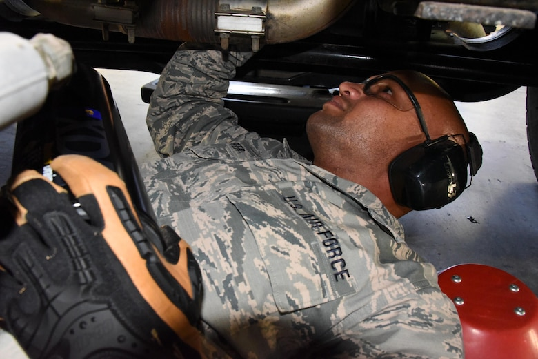 U.S. Air Force Airman 1st Class Jonathan Sheaffer, 161st Air Refueling wing vehicle maintenance apprentice, replaces an engine oil filter on an R-11 refueling truck at Goldwater Air National Guard Base, May 3, 2017. The R-11 truck holds up to 6,000 gallons of fuel and is used to refuel the wing's KC-135 Stratotankers.
