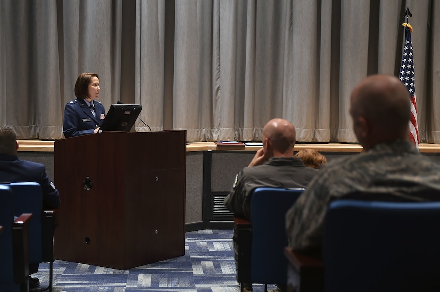 U.S. Air Force Lt. Col. Hayley James delivers remarks after assuming command of the 625th Strategic Operations Squadron (STOS) during a change of command ceremony at U.S. Strategic Command (USSTRATCOM) headquarters on Offutt Air Force Base, Neb., June 16, 2017. As commander of the 625th STOS, James leads an organization that executes and supports USSTRATCOM and Air Force Global Strike Command missions with continuous, rapid, accurate and survivable nuclear operations. Airmen from the 625th STOS serve on the U.S. Navy's E-6B Mercury aircraft to provide a survivable means to launch the nation's intercontinental ballistic missile force. James previously served as the 625th STOS director of operations before succeeding U.S. Air Force Lt. Col. Deane Konowicz as squadron commander. (U.S. Air Force photo by Staff Sgt. Jonathan Lovelady)