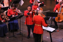 On June 17, 2017, the Marine Chamber Orchestra performed Antonio Vivaldi's The Four Seasons and Max Richter's The Four Seasons Recomposed at the Rachel M. Schlesinger Center and Concert Hall in Alexandria, Va. (U.S. Marine Corps photo by Master Sgt. Amanda Simmons/released)