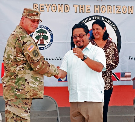 Ribbon Cutting Ceremony June 9 for Beyond the Horizon 2017 construction project at Ladyville Health Clinic, in Ladyville, Belize. BTH is a collaborative training event with U.S. Army South and Belize Defence Force and includes support from other Central American nations and local and international NGO's. The new facility will more than double the capacity of the existing structure providing a wider range of availble medical options at the primary care level.