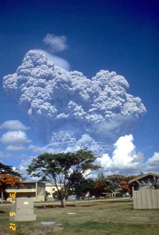 Ash plumes from the volcano, Mount Pinatubo, that forced Philippine evacuations including Clark Air Force Base. (Courtesy photo)