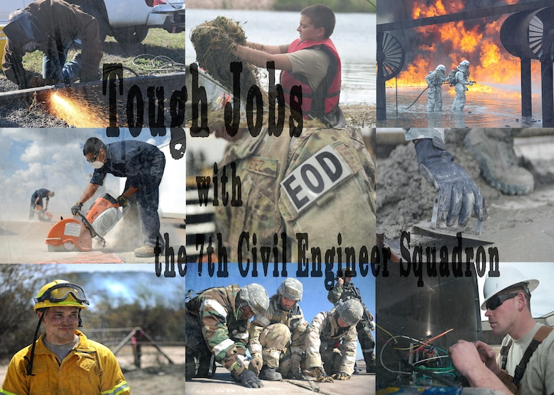This photo story series highlights the variety of jobs performed by the 7th Civil Engineer Squadron. Though 7 CES jobs are often underappreciated, they all play a vital and critical role in accomplishing 7th Bomb Wing and Air Force missions. (U.S. Air Force Photo Illustration by Airman 1st Class Katherine Miller)