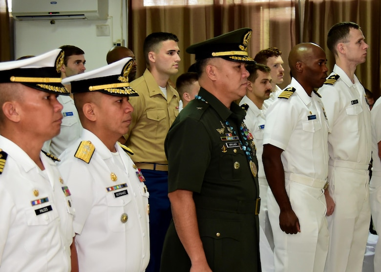 Service members from the U.S. Navy and Marine Corps and the Armed Forces of the Philippines attend the inaugural opening ceremony for Maritime Training Activity (MTA) Sama Sama 2017 at Naval Forces Central in Cebu, Philippines, June 16.  MTA Sama Sama is a bilateral maritime exercise between U.S. and Philippine naval forces and is designed to strengthen cooperation and interoperabillty between the nations' armed forces.