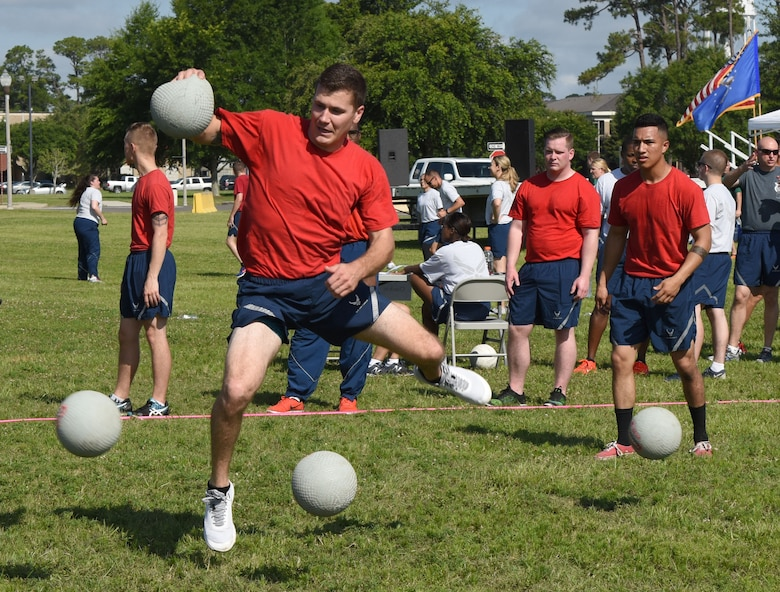 Staff Sgt. Ryan Fitzgerald, 81st Logistics Readiness Squadron fleet manager, participates in a dodgeball competition during field day June 15, 2017, on Keesler Air Force Base, Miss. Field day was the final event of Wingman Week, which focused on the physical pillar of Comprehensive Airman Fitness, resiliency and teambuilding initiatives across the base. (U.S. Air Force photo by Kemberly Groue)