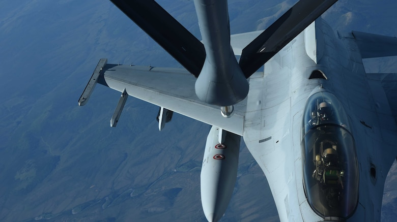 A Republic of Korea Air Force F-16 Fighting Falcon receives fuel from a KC-135 Stratotanker, above Canada, during Red Flag-Alaska 17-2, June 13, 2017. Red Flag is an international exercise aimed to enhance partnerships and combat effectiveness. (U.S. Air Force photo/Senior Airman Chris Thornbury)
