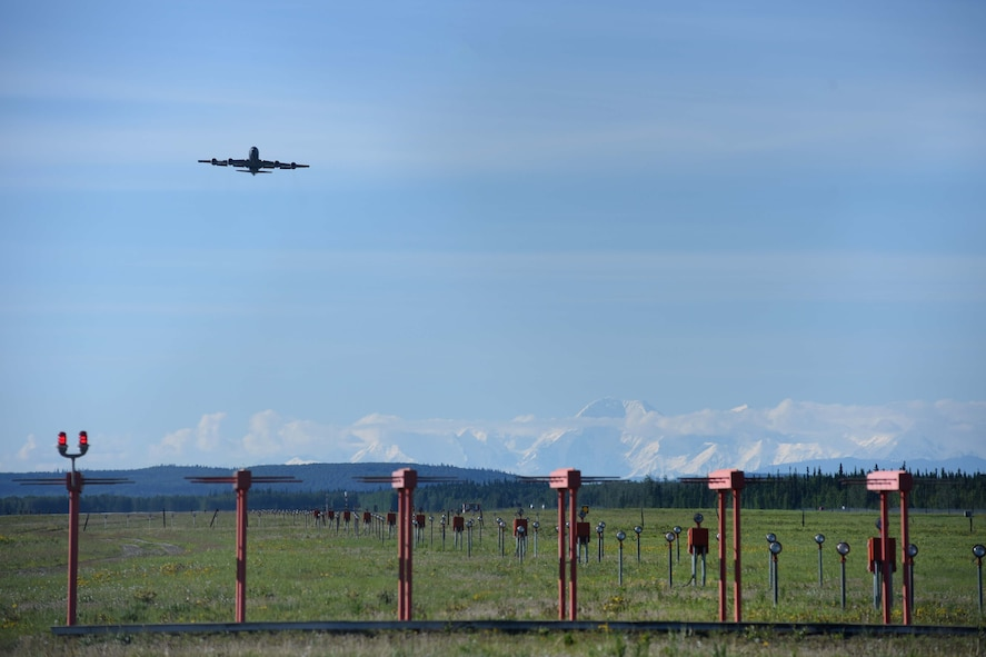 A KC-135 Stratotanker takes-off during Red Flag-Alaska 17-2, June 14, 2017, at Eielson Air Force Base, Alaska. Four McConnell aircrew took two KC-135s to provide warfighting support during the two-week exercise. (U.S. Air Force photo/Senior Airman Chris Thornbury)