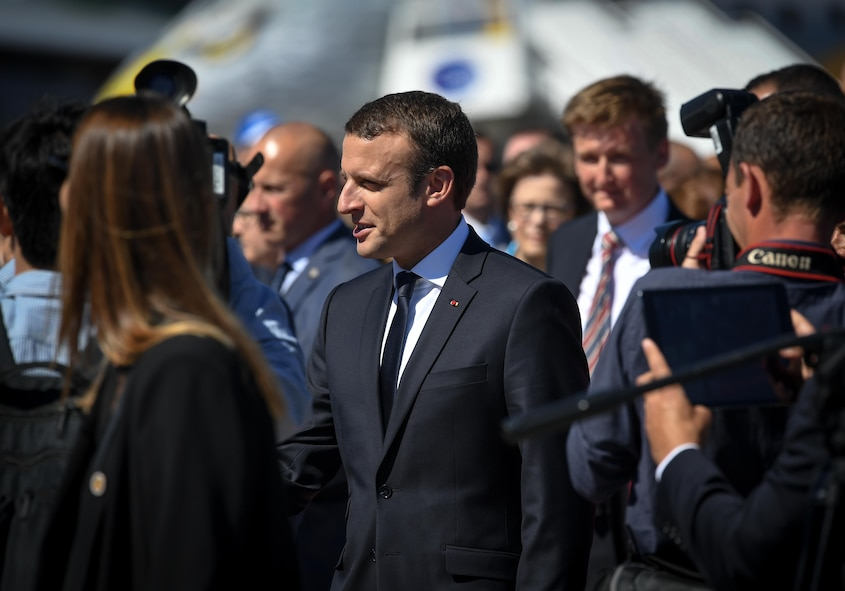 French President Emmanuel Macron visits the U.S. military corral at the Paris Air Show, June 19, 2017 at Le Bourget, France. Held every year, the Paris Air Show represents a unique opportunity for the United States to showcase its leadership in aerospace technologies. Direct participation in the air show supports U.S. government security policy and strategic defense objectives. (U.S. Air Force photo/ Tech. Sgt. Ryan Crane)