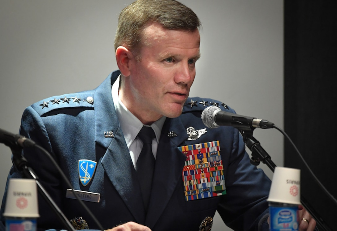 Gen. Tod D. Wolters, U.S. Air Forces in Europe and Air Forces Africa commander, answers questions during a media event at the Paris Air Show, June 19, 2017 at Le Bourget, France. Held every year, the Paris Air Show represents a unique opportunity for the United States to showcase its leadership in aerospace technologies. Direct participation in the air show supports U.S. government security policy and strategic defense objectives. (U.S. Air Force photo/ Tech. Sgt. Ryan Crane)