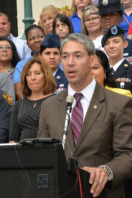City of San Antonio Mayor-Elect Ron Nirenberg speaks to those gathered at the unveiling ceremony for the newly trademarked Military City USA logo at City Hall June 19.